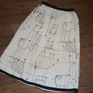 Vintage Abstract Animal Line Art Long Skirt